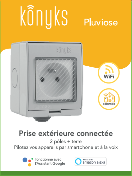 PLUVIOSE FR Prise extérieure Wi-Fi 16A (FR type E/F) IP55
