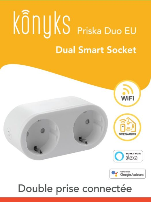 PRISKA DUO EU Double prise Wi-Fi 16A avec compteur (EU type F)