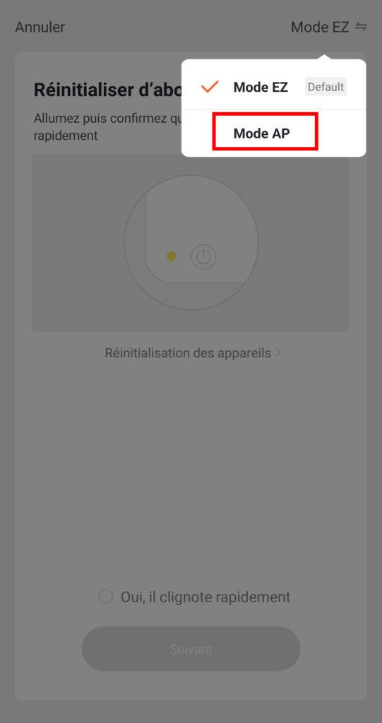 capture d'écran connexion en EZ mode app Konyks