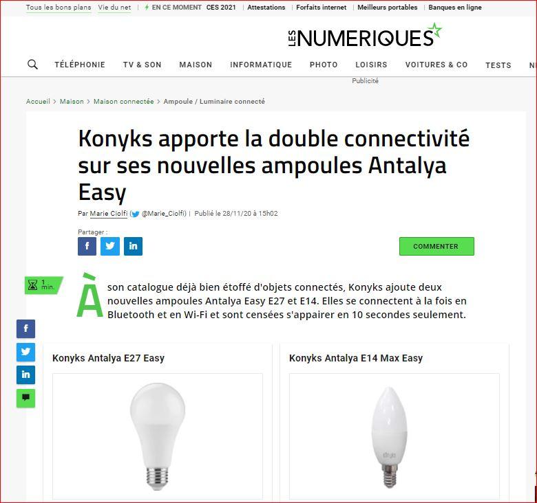 pages d'accueil article les numériques ANTALYA E14 MAX EASY l'ampoule connectée avec une double connectivité