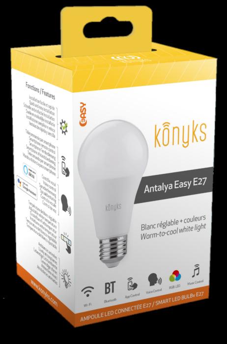 ANTALYA EASY E27 Ampoule LED E27 Wi-Fi+BT Couleurs + Blanc réglable
